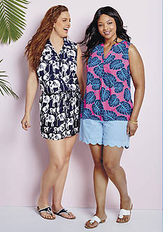crown & ivy™ Plus Size Safari Stampede Romper, Plus Size Philodendron Print Top & Plus Size Seersucker Scalloped Shorts