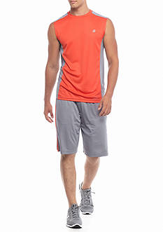 SB Tech® Run Muscle Tee With Solid Panels & 7-in. Solid Running Shorts
