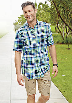 IZOD Big & Tall Short Sleeve Dockside Chambray Large Plaid Woven Shirt & Printed Schiffli Marlin Shorts