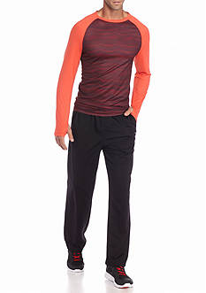 SB Tech® Long Sleeve Thin Wavy Crew Neck Shirt & Classic Fit Mesh Athletic Pants