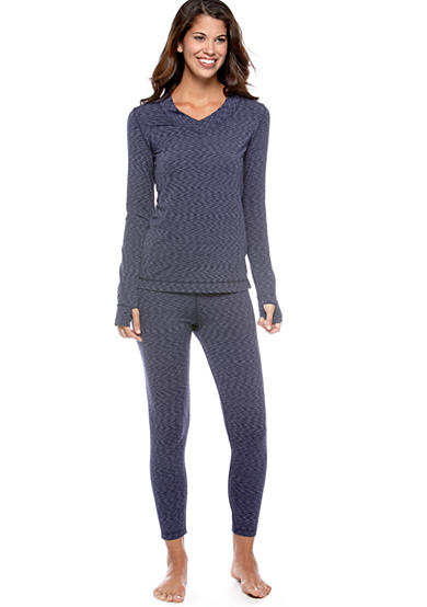 Cuddl Duds Flex Fit Long Sleeve V-Neck Top with Thumb Hole & Flex Fit Legging - Online Only