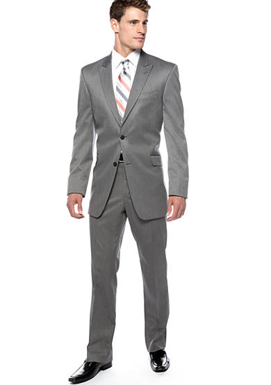 Marc Ecko Mark Ecko Slim Fit Grey Sharkskin Coat and Grey Sharkskin Pants