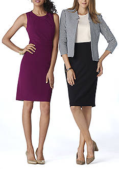 The New Suit: Kasper Crepe Dress, Houndstooth Jacket & Pencil Skirt