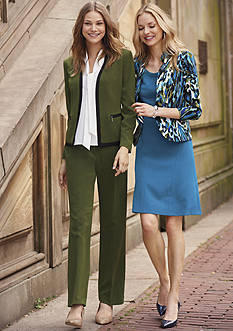The New Suit: Kasper Fern Pant Suit, Printed Jacket, & Fit and Flare Dress