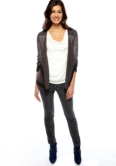 DKNY Jeans Mesh Drape Cardigan, Shadow Stripe Cowl Neck Top & Snow Leopard Print Jegging