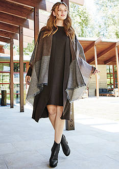 The EDIT: Eileen Fisher Serape With Fringe, Kimono Duster & Funnel Neck Knee Length Dress Collection