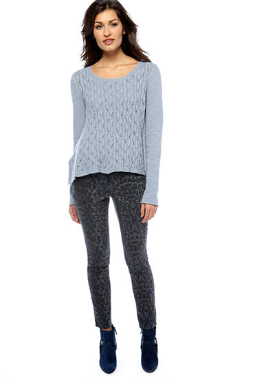 DKNY Jeans Pointelle Cable Sweater and Snow Leopard Print Jegging