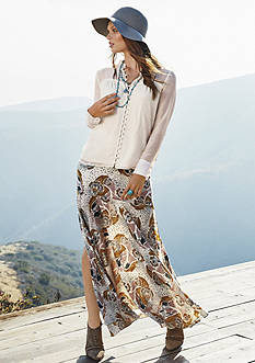 The EDIT: Free People Through And Through Button Down Blouse & Pebble Crepe Maxi Skirt