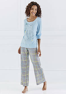 Sleep Dream Long Sleeve Tee, Plaid & Quilty Shorty Boxer & Jogger Pajama Pants
