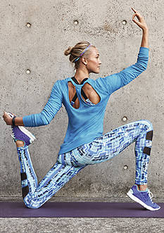 be inspired® Printed Leggings & Cross Back Print Bra