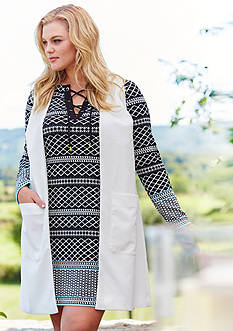 Plus Size Woven Duster Vest and Lace Up Ponte Dress