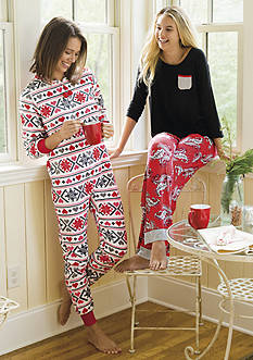 PJ Couture One-Piece Pajama & Ellen Tracy Printed Pajama Set, Printed Short Tunic & Baby Fleece Ruffle Robe