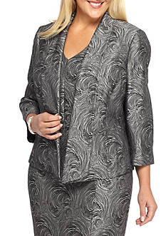 Kasper Plus Size Swirl Jacquard Dress Suit
