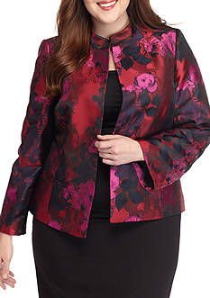 Kasper Plus Size Floral Dress Suit