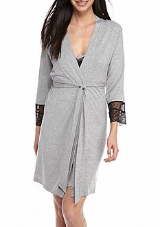 New Directions® Lace Trim Wrap Robe, Chemise & Shortie Set
