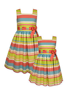 Bonnie Jean Linen Stripe Sister Dress Collection Toddler Girls, Girls 4-6x and Girls 7-16