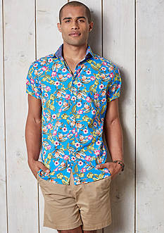 Crown & Ivy™ Short Sleeve Stretch Washed Spread Collar Shirt & Stretch 7-in Twill Shorts Collection