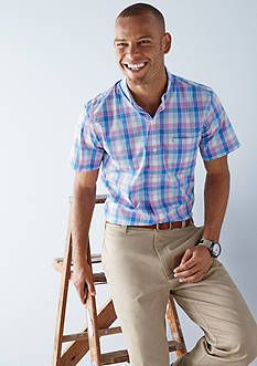 IZOD Striped Short Sleeve Box Plaid Shirt & Straight Fit Saltwater Chino Flat Front Pants Collection