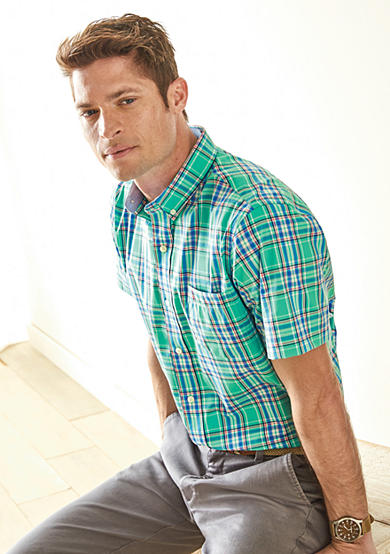 IZOD Large Stripe Short Sleeve Plaid Shirt & Straight-Fit Flat-Front American Chino Pants Collection