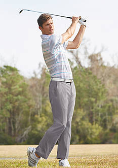 Pro Tour® Airplay Birdseye Printed Stripe Polo Shirt & Flat Front Comfort Stretch Tech Pants Collection