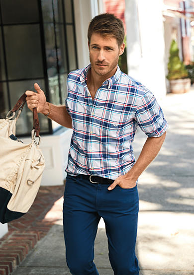 Chaps Plaid Stretch-Oxford Shirt & Straight-Fit 5-Pocket Pants Collection