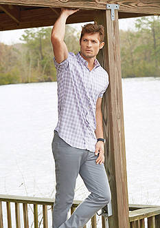 Van Heusen Short Sleeve Flex Non-Iron Stretch Plaid Shirt & Flex Flat-Front Pants Collection