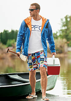 Columbia PFG Storm Jacket, PFG Terminal Tackle™ Hooks Long Sleeve Tee & Backcast II™ Printed Water Shorts Collections