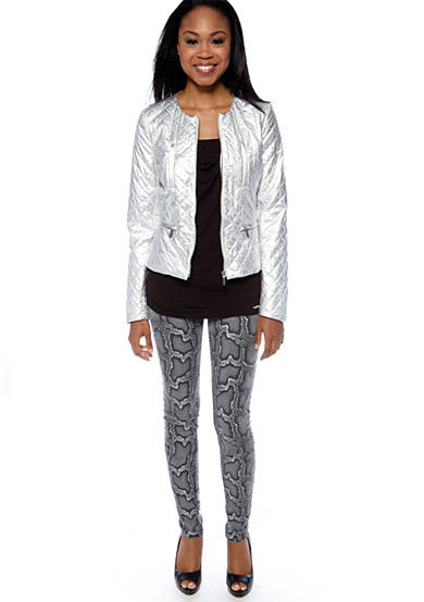 MICHAEL Michael Kors Zip Front Quilted Puffer Jacket, 3/4 Sleeve Drape Neck Top & Cobra Print Jeans