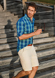 Chaps Checked Stretch-Poplin Shirt & Stretch-Twill Shorts Collection