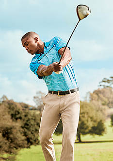 Pro Tour® Short Sleeve Texture Polo Shirt & Flat Front Comfort Stretch Tech Pants Collection