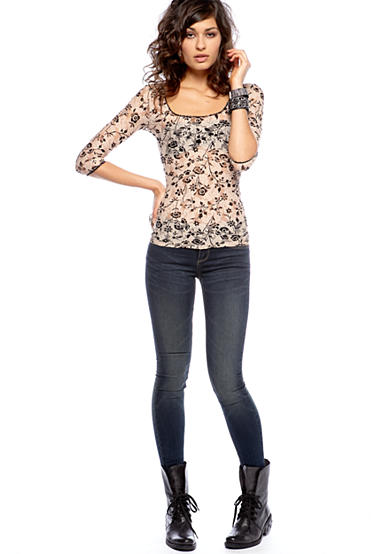Free People Scalloped Printed Lace Top & Regular Rise Skinny Jean