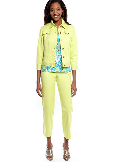 Ruby Rd. Favorites Twill Pants and Jacket with V-Neck Knit Top