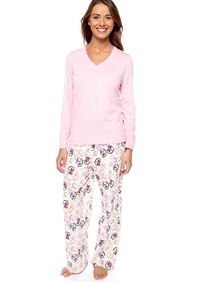 HUE® HUE Solid Long Sleeve V-Neck Pajama Tee & Kitty Heart Cuddle Long Pajama Pant