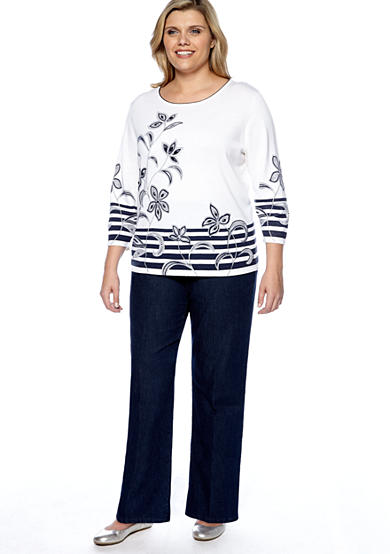 Alfred Dunner Plus Size South Hampton Border Stripe Floral Sweater & Relaxed Fit Denim Pant