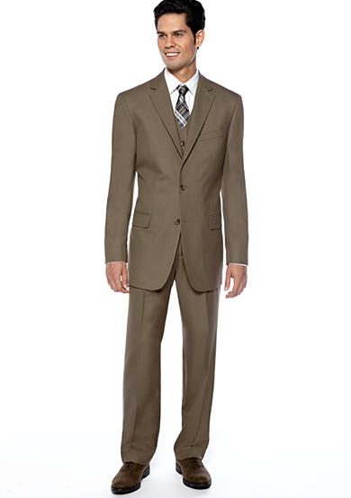 Geoffrey Beene Slim Fit Brown Sharkskin Suit Separates