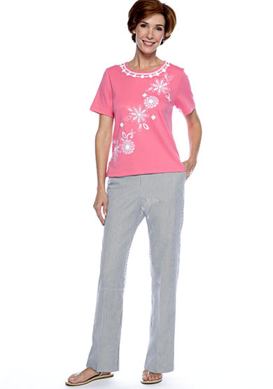 Alfred Dunner South Hampton Embroidered Yoke And Diagonal Floral Knit Top & Pinstripe Pant