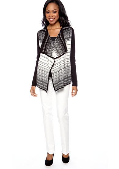 Calvin Klein Textured Stripe Open Sweater, Printed Cowl Neck Top & Slant Pocket Pant