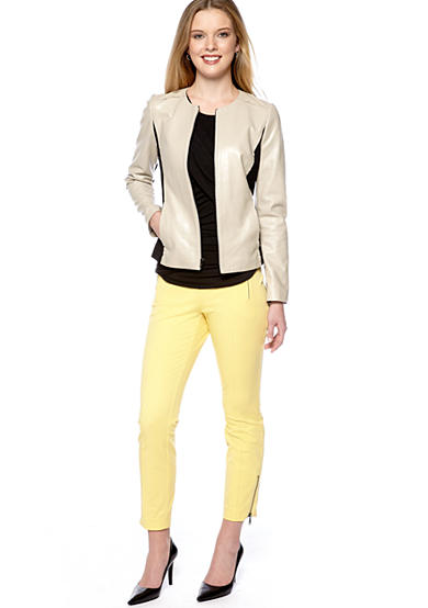 DKNYC Leather Zip Jacket, Crew Neck Drape Top & Skinny Ankle Pant