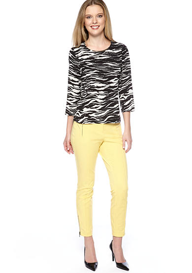 DKNY Crew Neck Top with Metal Trim & Skinny Ankle Pant