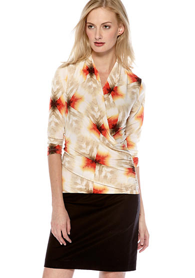 Vince Camuto Geometric Feather Print Wrap Top & Side Zip Pencil Skirt