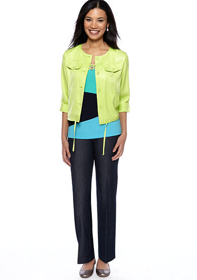 Ruby Rd Boho Cool Color Block Top and Shimmer Blouson Jacket with Career Stretch Denim