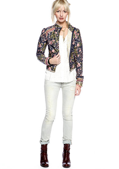Free People Quilted Voile Meadow Jacket, Farah Blouse & Stove Pipe Destructed Skinny Jean