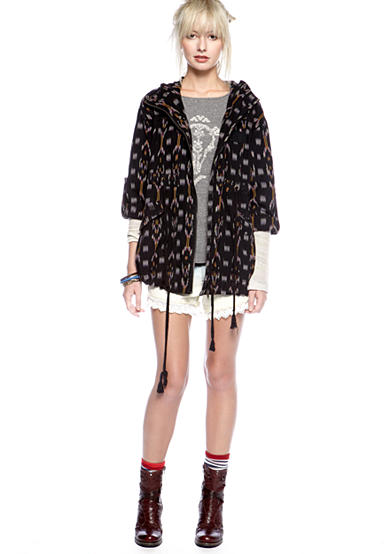 Free People Ikat Hoodie Cargo Jacket, Ragtime Raglan Graphic Knit Top & Dip Dye Lacey Cutoff Short