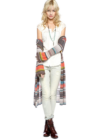 Free People Serape Cardigan, Farah Blouse & Stove Pipe Destructed Skinny Jean