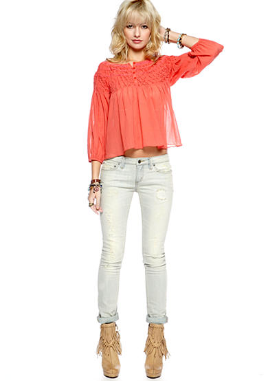 Free People Smocked Embroidered Blouse & Stove Pipe Destructed Skinny Jean