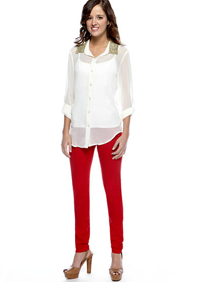 Living Doll Sequin Collar Button Front Shirt with Fire Colored Skinny Jean