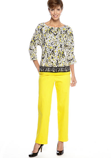 Ruby Rd Ruby Rd. Sunshine State Snakeskin Border Printed Top with Sunshine State Classic Side Elastic Colored Denim
