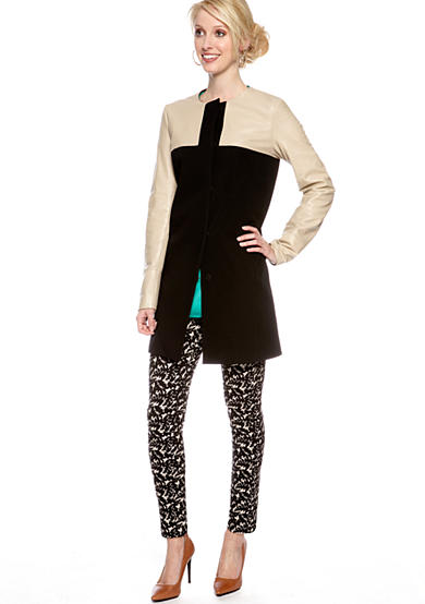 DKNYC Mixed Media Coat, Long Roll Sleeve Blouse with Chiffon Sleeves and Yoke & Skinny Printed Ankle Pant