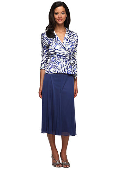 Alex Evenings Three-Quarter Sleeved Side Tie Blouse & T-Length Skirt