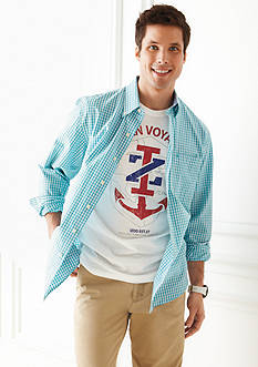 Izod Button Down Shadow Gingham Shirt, Anchor Screen Tee & Saltwater Classic Fit Chino Pants